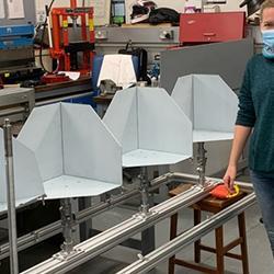 Corner reflectors in the workshop, Krisztina for scale